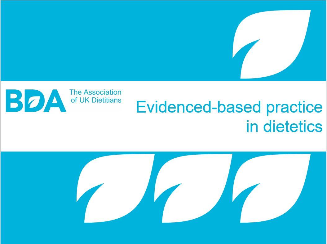 Title screen for webinar - Evidence based practice in dietetics